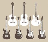 stock photo of stratocaster  - Vector silhouettes of acoustic and electric guitars - JPG