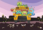 illustration of monsters and school bus on a horror background