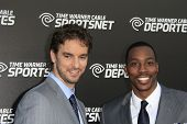 LOS ANGELES - OCT 30:  Pau Gasol, Dwight Howard arrives at the Time Warner Sports Launch of TWC Spor