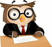 Illustration of a Nerdy Owl Writing on a Piece of Paper