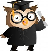 Illustration of an Owl Wearing a Toga and Graduation Cap Holding a Diploma