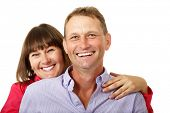 pic of average man  - Attractive cheerful woman with man in love smiling over white background - JPG