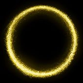 Gold glittering star dust circle. Twinkling ellipce
