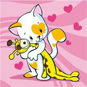 stock photo of wanton  - cute kitty illustration holding giraffe toy on pink background with hearts - JPG