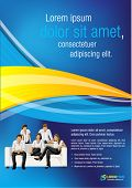 Blue and yellow template for advertising brochure with business people