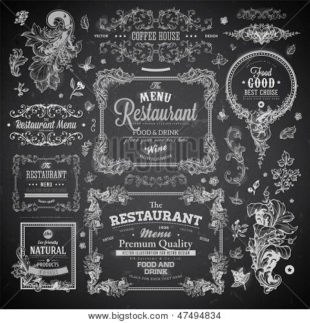 Retro set of labels for restaurant menu design. Vintage floral frames with antique flowers. Engravin poster