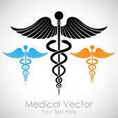 stock photo of emergency treatment  - illustration of colorful medical sign Caduceus - JPG