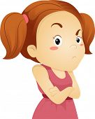 stock photo of sulky  - Illustration of a Frowing Grumpy Little Kid Girl - JPG