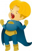 Illustration of Shouting Little Kid Boy Superhero
