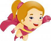 Ilustración de un pequeño niño chica voladora