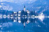 Church on a small island,  lake Bled
