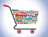 Shopping Cart Illustration: Mega Or Big Weekend Sale Shopping Cart Banner With All Key Texts Related