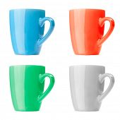red, green, gray and blue mugs