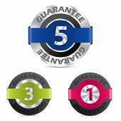 Metallic Guarantee Badges With Different Numbers