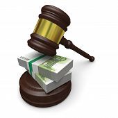 pic of corruption  - Money in justice concept of high legal fees corruption of financial law - JPG