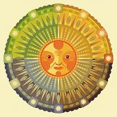 pic of four-wheel  - Decorative illustration of the four seasons and the Sun - JPG