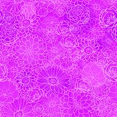 Pink lineart floral texture seamless pattern background
