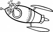 Alien In Rocket Cartoon Coloring Page