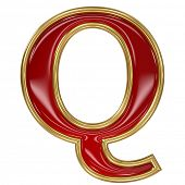 Ruby red with golden outline alphabet letter symbol - Q
