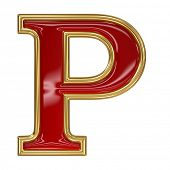 picture of letter p  - Ruby red with golden outline alphabet letter symbol  - JPG