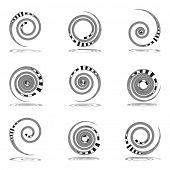 Spiral movement. Design elements set. Vector art.