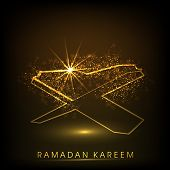 Shiny illustration of islamic religious book Quran Shareef with Stylish text Ramadan Kareem on abstract brown background.
