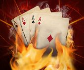 Poker Cards Burn In The Fire
