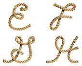 foto of g-string  - old natural fiber rope bent in the form of letter E F G H - JPG