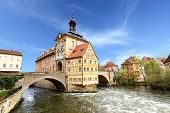 stock photo of regnitz  - Town hall on the bridge - JPG