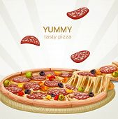 Yummy Tasty Pizza With Sausage Banner