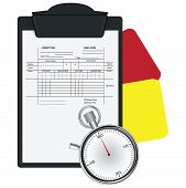 image of stopwatch  - Clipboard with Soccer Referee Data Set and Stopwatch - JPG
