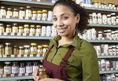 Saleswoman in health food store