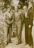 CZESTOCHOWA, POLAND, CIRCA 1934- vintage photo of three men in suits outdoor, Czestochowa, Poland ci