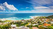Seaside of Cape Town, beautiful coastal city in the Africa, panoramic landscape, modern buildings, t