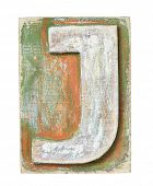 Wooden alphabet block, letter J