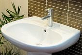 stock photo of bathroom sink  - modern bathroom sink detail - JPG