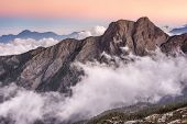 Landscape of famous Mt Jade east peak in Taiwan in the sunset, Asia. Mt Jade is the highest mountain
