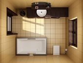 Japanese Style Bathroom With Brown Tiles. Top View