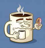 stock photo of donut  - A coffee mug cartoon character sipping on a cup of java and eating a pink frosted donut - JPG