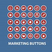 marketing, business, management, presentation buttons, icons, signs set, vector