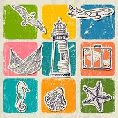 Vintage set of sea travel icons.