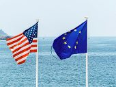 flags of the european union and the united states, symbolic photo for, diplomacy, foreign policy