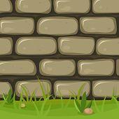 Cartoon Rural Stone Wall