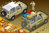 Isometric Safari Off Road Vehicle In Rear View
