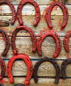 Painted old horseshoes
