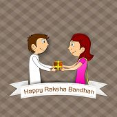 foto of rakshabandhan  - Brother giving gift to his sister - JPG