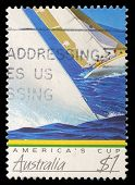 AUSTRALIA - CIRCA 1986: A stamp printed in Australia shows image of a yacht competing the America's