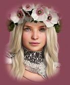 stock photo of chokers  - 3d computer graphics of a Girl with white Poppies in her Hair - JPG