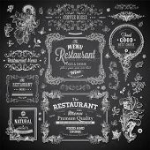 Retro set of labels for restaurant menu design. Vintage floral frames with antique flowers. Engraving hand drawn style. Detailed elements. Vector eps10 illustration. Chalkboard version. poster