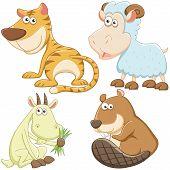 Постер, плакат: Милый мультфильм животных набор